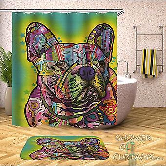 Värikäs Bulldog suihku verho