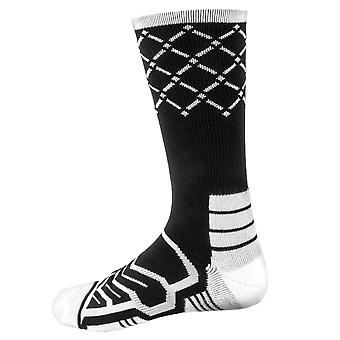 Large Basketball Compression Socks, Black/White
