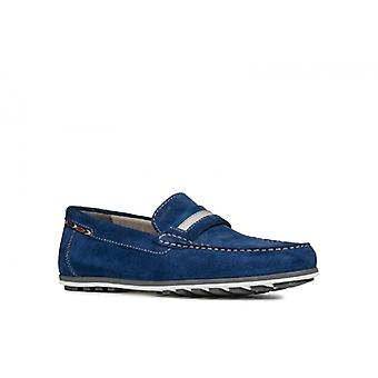Geox Mirvin Mens Leather Loafers Dark Royal
