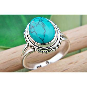 Ring Zilver 925 Sterling Zilver Turquoise Blue Green Stone (Nr: MRI 76)
