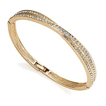 Gold crossover bangle created with swarovski® crystals