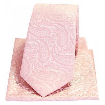 David Van Hagen Tonal Paisley Silk Tie et Pocket Square Set - Rose