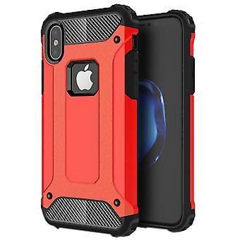 For iPhone XS, X-etui, sterk rustning høy kvalitet holdbart beskyttelsesdeksel, rød