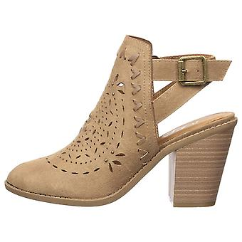 Sugar Women's Rilla Perforated Open Back Block Heel Ankle Boot