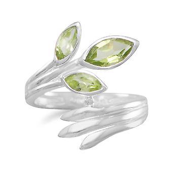 925 Sterling Silver Fan zábal prsteň tri Marquise Peridots kamene 3mm X 7mm 4mm X 8mm šperky Darčeky pre ženy-krúžok veľkosť