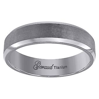 Titanium Mens Brushed Beveled Edge Comfort Fit Wedding Band 6mm Jewelry Gifts for Men - Ring Size: 7 to 12