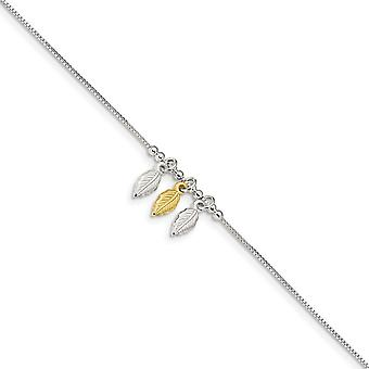 925 Sterling Silver and Gold tone Polished Beaded Feather With 1in Anklet 9 Inch Jewely Gifts for Women