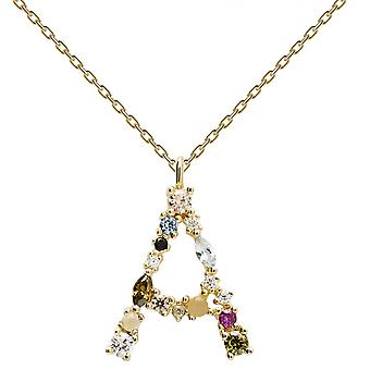 PD Paola CO01-096-U necklace and pendant - I AM in gold silver with natural stones and semi-precious Women