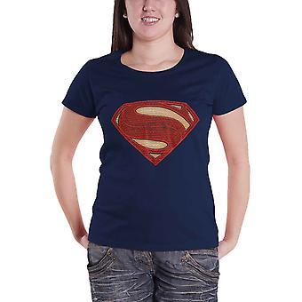 Womens Short Sleeve Superman Logo Superhero Print T Shirt Top Ladies Official