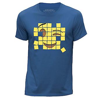 STUFF4 Men's Round Neck T-Shirt/Old Mosaic/Wink Emoticon/Royal Blue
