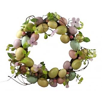 Easter Egg Decoration Wreath in Pastel Colours by Gisela Graham