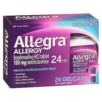 Allegra allergy, 24 hour indoor/outdoor relief, gelcaps, 24 ea