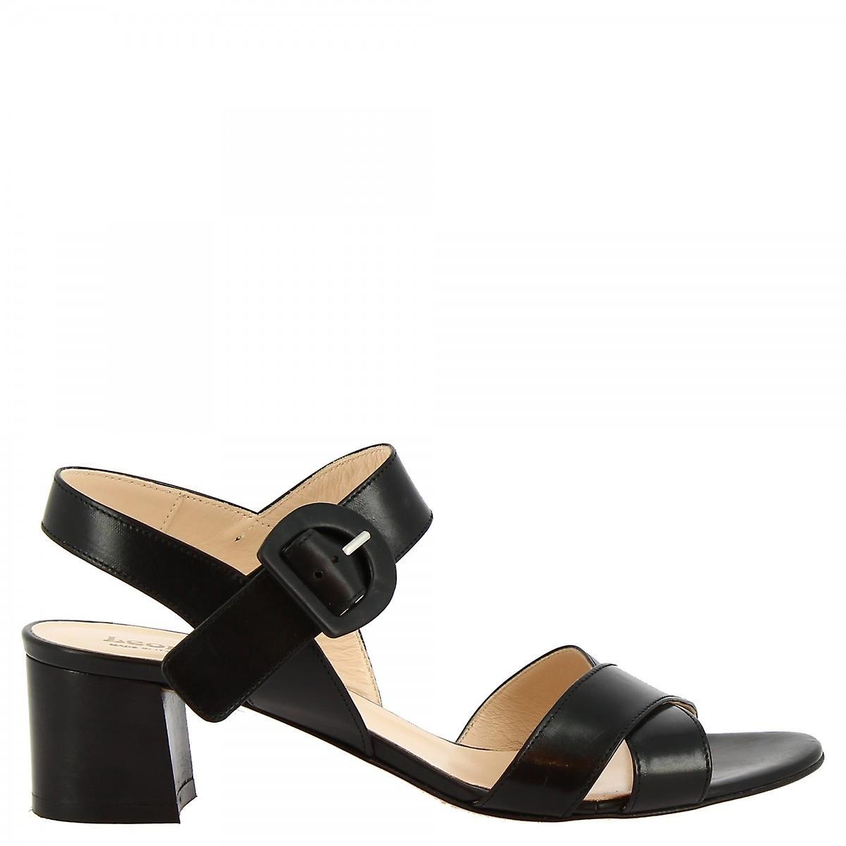 Leonardo Shoes Women's handmade mid heels sandals black leather buckle closure