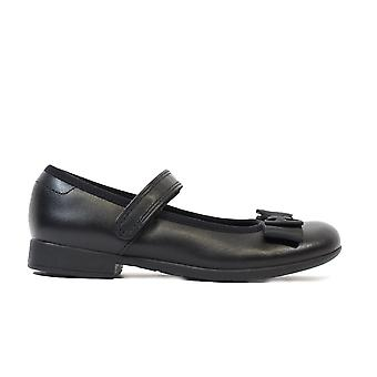 Clarks Scala Tap Kids Black Leather Girls Rip Tape Mary Jane Sapatos escolares