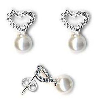 Toc Sterling Silver Preciosa Crystal Heart and Pearl Drop Earrings