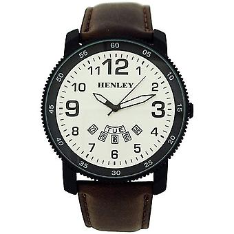 Henley Gents Analogue Silvertone Dial Day-Date Brown PU Strap Watch H02101.2