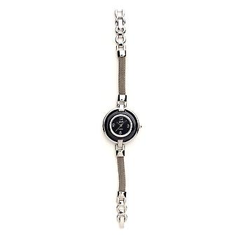 Eton Slim Mesh Cuerda Pulsera Reloj, Negro Dial & Anillo - 3108L-BK