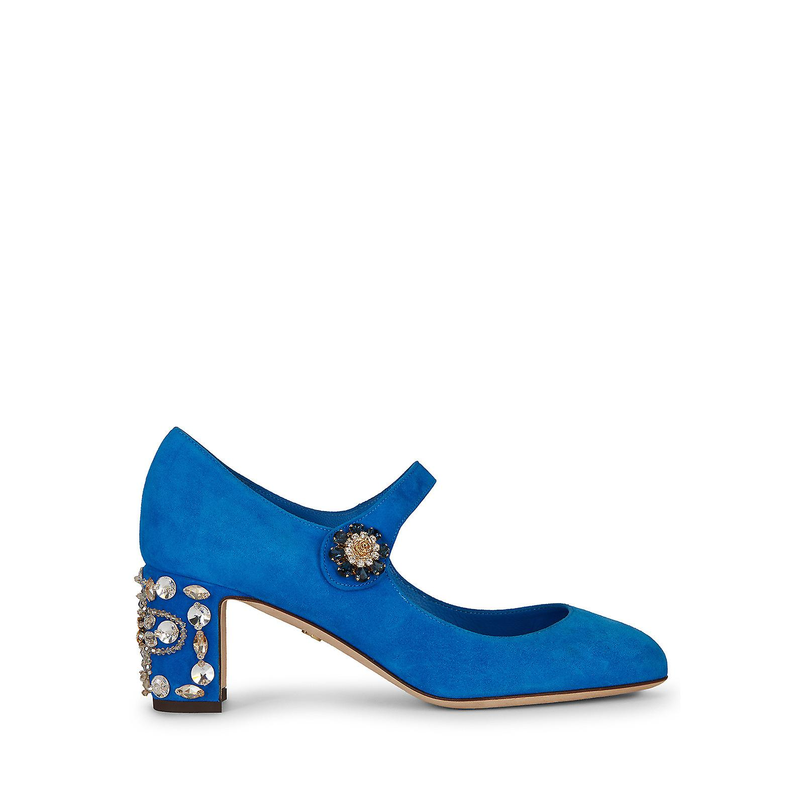 Dolce & Gabbana Mid Block Heel Pumps In Light Blue Suede 6v4YP
