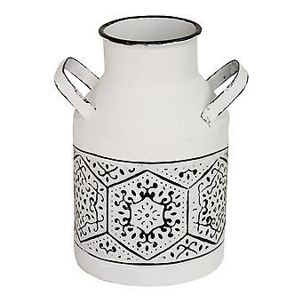 10&sort/hvid metal nødretsvase