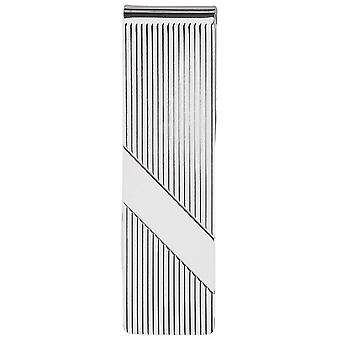 Orton West Engraved Striped Silver Money Clip - Silver