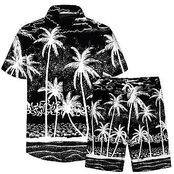 Allthemen Men's 3D Colorful 2-Pieces Beach Shirt&Shorts