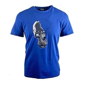 Just Cavalli Skull Logo Blue T-Shirt