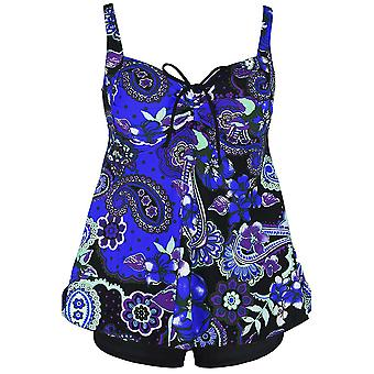 Plus Size Paisley Floral Print Tie Back Fashion Swimsuit Tankini Set