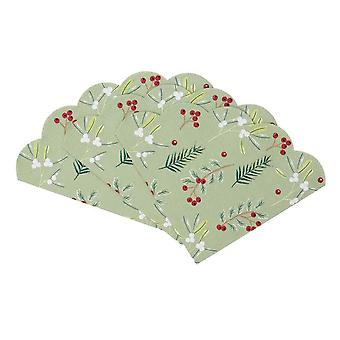 Botanical Berry Scalloped Christmas Paper Party Napkin x 20