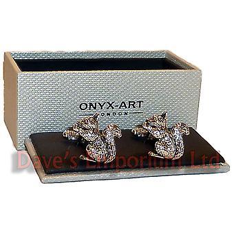 Squirrel Cufflinks by Onyx Art - Gift Boxed - Ladies Cuff Links