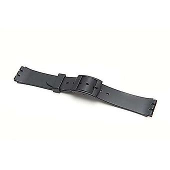 Swatch style resin watch strap black with plastic buckle size 17mm
