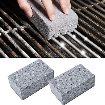2pc Bbq Grill Cleaning Brick Block, Stone Racks Stains Grease Cleaner