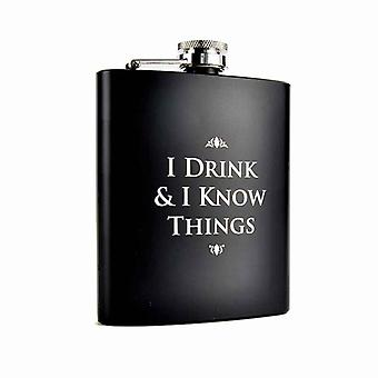 Game Of Thrones Hip Flask I Drink & I Know Things new Official Mens Black