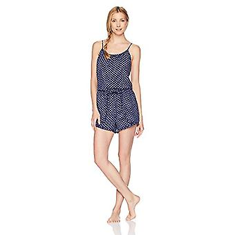 Brand - Mae Women's Sleepwear Printed Romper Pajamas, Navy Dot, Medium