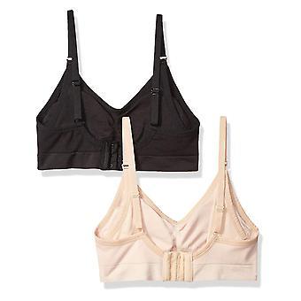 Arabella Frauen's Pflege nahtlose Bralette 2 Pack, schwarz/Shifting Sand, Medium