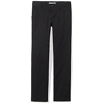 Essentials Little Girls' Flat Front Uniform Chino Pant, Black,7