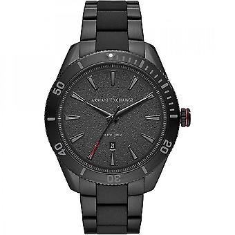 Armani Exchange Mens 'Enzo' Round Black Date Dial Black Stainless Steel Bracelet Watch AX1826