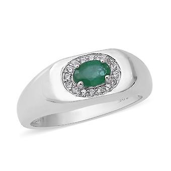 Halo Smaragd Ring für Frauen Sterling Silber weiß Zirkon, 0,85 Ct TJC
