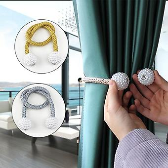 Magnetic Curtain Tieback - Buckle Clip Strap Magnet Pearl Ball Curtain Hanging