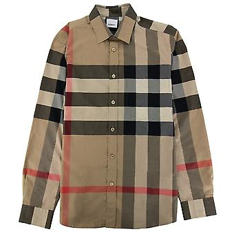 Burberry Ip Check Poplin Shirt Archive Beige