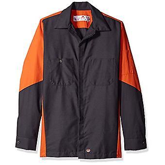 Red Kap Men's Ripstop Long-Sleeve Crew Shirt, Charcoal/Orange, X-Large