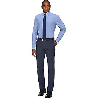 BUTTONED DOWN Miehet's Slim Fit button collar pattern non-iron dress shirt, navy...