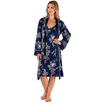 Slenderella Gaspé GL66724 Women's Navy Blue Floral Dressing Gown