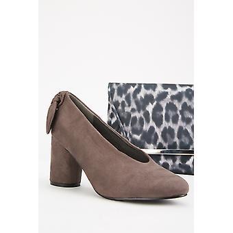 Suedette Bow Back Block Heels