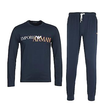 Emporio Armani Loungewear großes Logo Marine Pyjamas