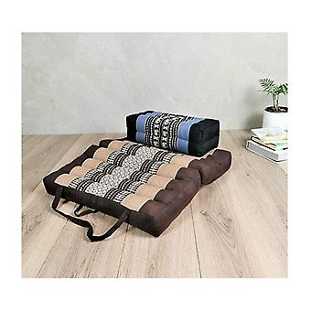 Foldable Meditation Cushion Brown And Seating Block Set Brwblueele