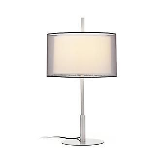Faro Saba - 1 Light Table Lamp White, Matt Nickel with Double Shade, E27
