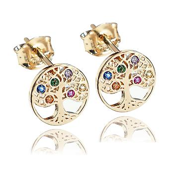Ah! Jewellery Highly Detailed Gold Filled Multicoloured Tree Of Life Earrings