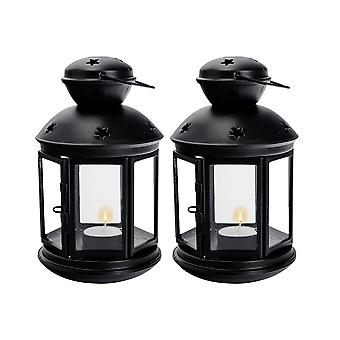 Nicola Spring Candle Lanterns Tealight Holders Metal Hanging Indoor Outdoor - 20cm - Black - Set 2