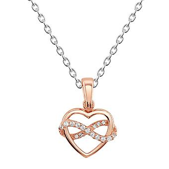 Dew Sterling Silver Heart Infinity Rose Gold Plate & Cubic Zirconia Pendant 9318RGCZ