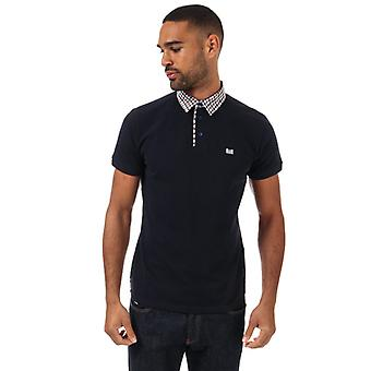 Men's Weekend Offender Nicks Check Collar Polo Shirt in Blue